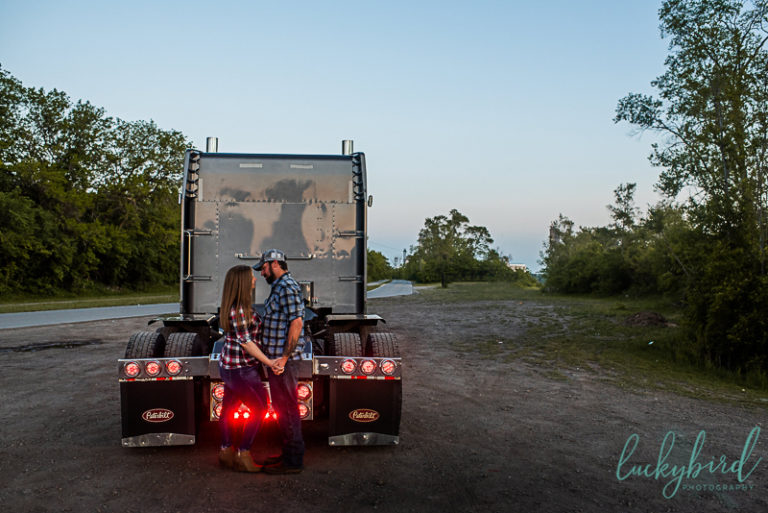 sunset engagement session with semi truck in toledo