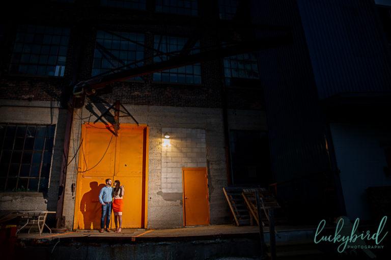 toledo engagement photos at night orange door