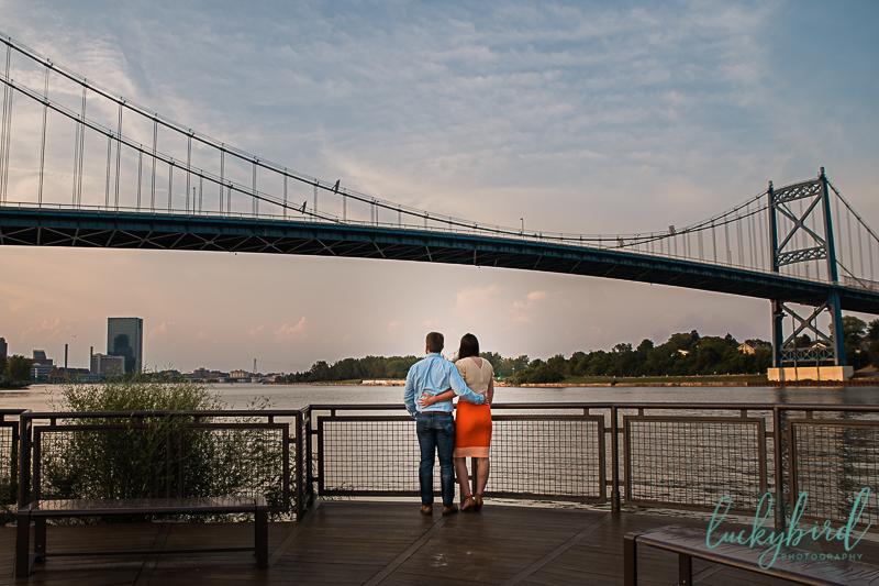 toledo engagement photos with bridge