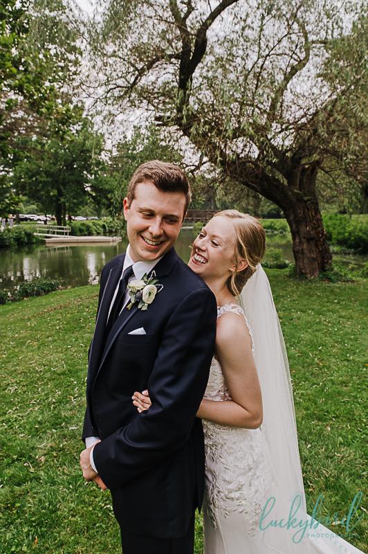 wedding photo of couple laughing at sidecut park