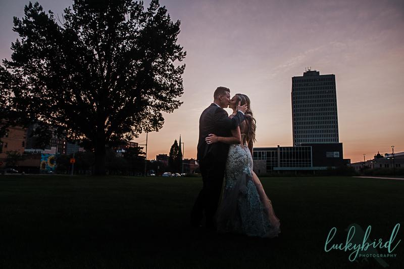 downtown toledo wedding photo at sunset