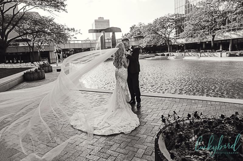 renaissance toledo wedding photos by fountain